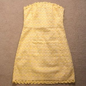 Lilly Pulitzer Yellow Lace Strapless Dress